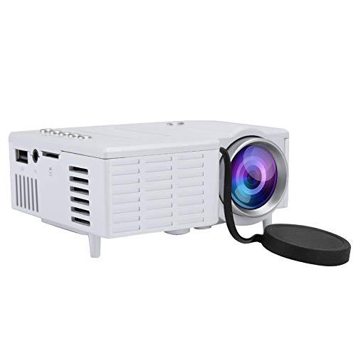 VBESTLIFE Mini HD Beamer, draagbare LCD 1080P miniatuurprojector UC28c thuisbioscoop mediaspeler, ventilator + aluminium koeler + wervelluchtkanaal, wit