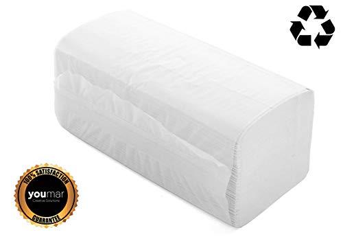 YOUMAR - Toallas Secamanos de papel TISSUE RECICLADO 2 capas con plegado Zig-Zag (3000 uds)