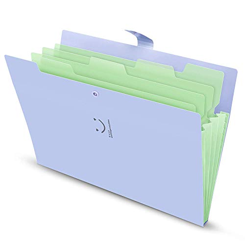 Ordnungsmappe A4 4 Fächer Dokument Ordner Organizer Folder mit Schnalle Lila Cover
