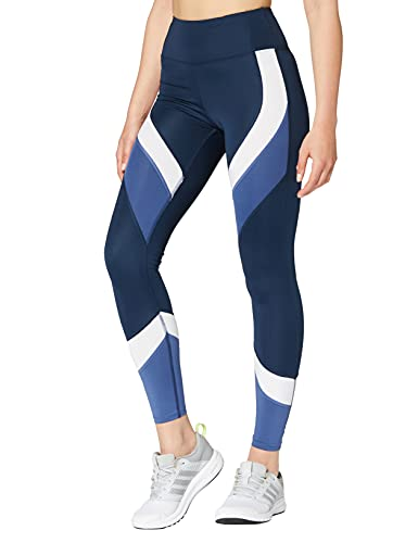 Aurique Leggings deportivos para Mujer, Azul (Dress Blue/White/Gray Blue), S