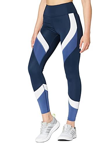 Aurique Leggings deportivos para Mujer, Azul (Dress Blue/White/Gray Blue), S