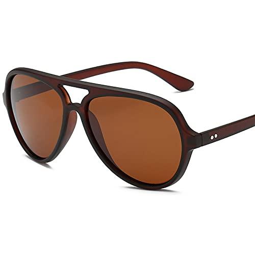 XINMAN Gafas De Sol A Prueba De Viento con Montura Grande Retro para Hombres Y Mujeres De Moda para Viajes En Automóvil, Gafas De Sol Anti-Ultravioleta, Tabletas De Té De Té Mate