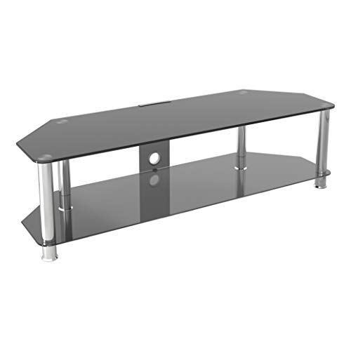 mahara Black Glass TV Stand - 140cm - for TVs up to 65'