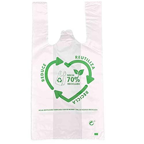 Oceano Bolsas de Plástico Tipo Camiseta Resistentes, Reutilizables y Recicladas (40x50) 120 unidades