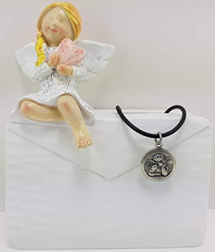 Christshop Schutzengel Spardose Kurvert und Kettenanhänger Sixtinischer Engel aus Neusilber mit Kautschukband