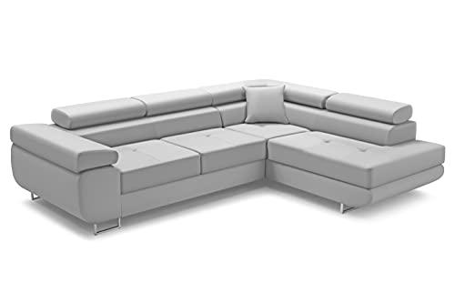 Ecksofa Antonia L-Form Schlafsofa Wohnlandschaft Links/Rechts Couch, Bettkasten,Schlaffunktion, 3 verstellbaren Kopfstützen, viele Farbvarianten (Rechts, Monolith 84)