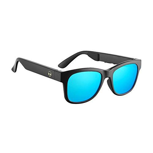 Gafas de Sol VocalSkull Alien5 Bone Conduction, Auricular Bluetooth, Montura Mate (Azul).