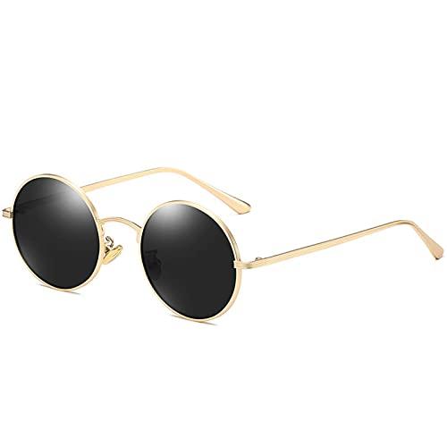 AMFG Gafas de sol polarizadas Punk Gafas de roca retro Gafas de sol Marco redondo Sombreado Viaje al aire libre Pesca (Color : D)