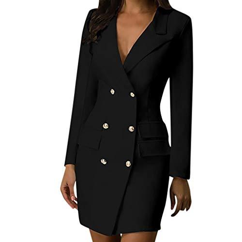 WFRAU Damen Military Stil Blazer Kleider,Frauen Zweireiher Knopf Einfarbig V-Ausschnitt Lange Ärmel Kleid Blusen,Damen Jacke Anzug Trenchcoat Oberbekleidung Mantel Outwear Bürokleidung (Schwarz, 5XL)