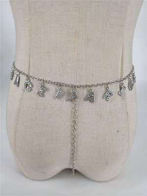 xiangwang Cadena de metal sexy para el cuerpo, con doce constelaciones, colgante de letra de diamantes de imitación, cadena en T, regalo de joyería para el cuerpo (color metálico: Sagitario)