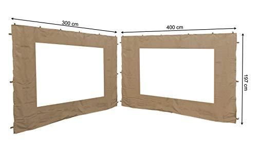 QUICK STAR 2 Seitenteile mit PVC Fenster für Blätter Pavillon 3x4m Seitenwand Sand