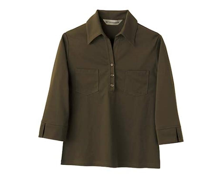 密接に気難しいなのでニットシャツ レディス 7分袖 カーキ/61-6146-22