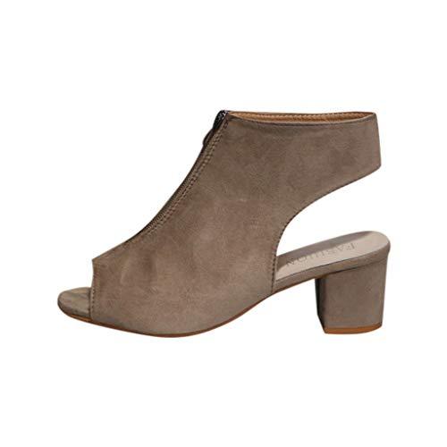 POLP Zapatos Tacón Ancho Mujer 2019,Sandalias de Vestir,Sandalias Verano 2019 Tacon Fiesta Sandal con Punta Abierta para Mujer con Cremallera Casual Negro 35-41