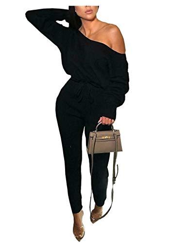 Islander Fashions Damen Damen Gestrickt Oberes Oberteil Manschetten Unten Loungewear Trainingsanzug Set Schwarz EU 40