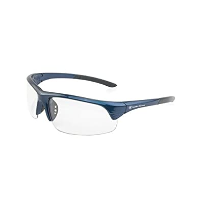 Smith & Wesson Corporal Half Frame Shooting Glasses with No-Slip Rubber, Impact Resistance and Storage Bag for Shooting, Working and Everyday Use, Blue with Clear