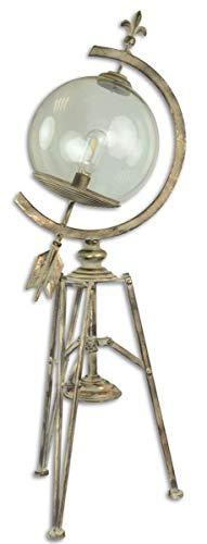 Casa Padrino Jugendstil Stehleuchte Antik Cremefarben/Gold 34 x 24,7 x H. 95,8 cm - Dreibein Stehlampe im Sonnenuhr Design