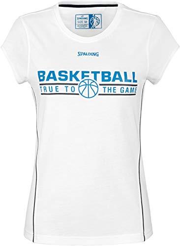 Spalding Damen Team T-Shirt 4HER, Weiß/Marine, M