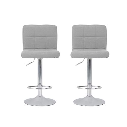 Queiting 2PCS Bar Stools Fabric Swivel Barstools Adjustable Swivel Kitchen Breakfast Barstools with Chrome Footrest and Backrest Modern Bar Stool for Breakfast Bar Counter Kitchen Home, Grey