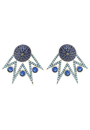 LATELITA Jester Ear Jacket - Pendientes convertibles en oro azul