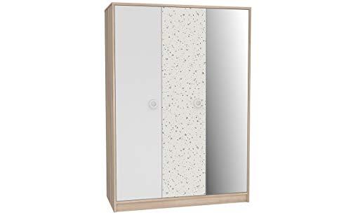 Furniture24 Kleiderschrank KOLAZA KLZS831S, Schrank, Drehtürenschrank, 2 Türiger, mit Kleiderstangem Einlegeboden und Spiegel