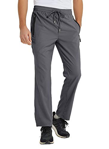 TBMPOY Men's Ultra Light Athletic Travel Pants Open Bottom Sports Exercise Pants(Dark Grey,US M)