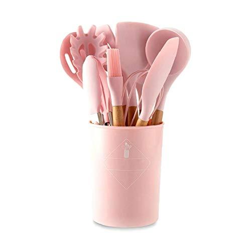 Utensili da cucina in silicone Set antiaderente Spatola Pala manico in legno da cucina Strumenti rosa insieme con il Box di stoccaggio Utensili da cucina