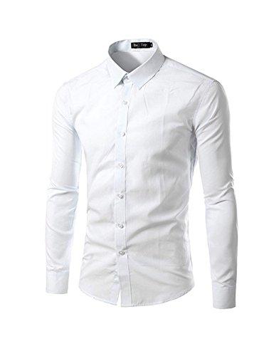 Jueshanzj Camicia da uomo a maniche lunghe per il tempo libero, da stirare, slim fit, bianco, S