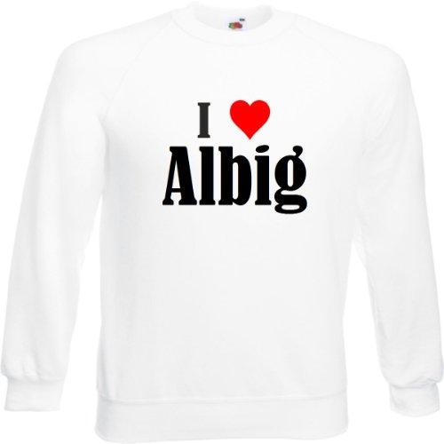 Reifen-Markt Sweatshirt I Love Albig Größe 2XL Farbe Weiss Druck Schwarz