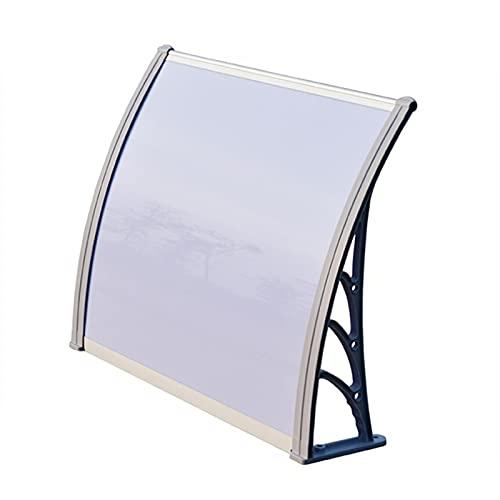 Auvent de Porte Entrée Marquise QIANDA Translucide Blanc Couverture Fenêtre Soleil Ombre Store Entrée Abri - Supports Latéraux en Métal Gris (Size : 200cmx60cm)
