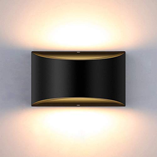 Dimmable Wall Sconce, SHYVIA Modern Black Led Up Down Wall Lamp, 12W Indoor Hallway Wall Light Fixtures for Living Room, Stair, Bedroom, Warm White