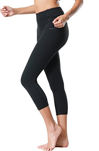 Dragon Fit Compression Yoga Pants Power Stretch Workout Leggings With High Waist Tummy Control, 03black-capri, Medium