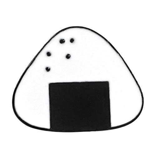 Broche con diseño de bolitas de arroz japonesas de sushi de dibujos animados japoneses, broche de esmalte de tela vaquera, insignia de solapa – negro + blanco