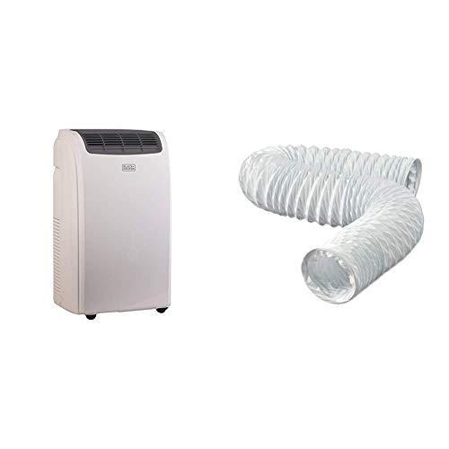 BLACK+DECKER Portable Air Conditioner Unit, Window Vent Kit, 4 Caster Wheels, White