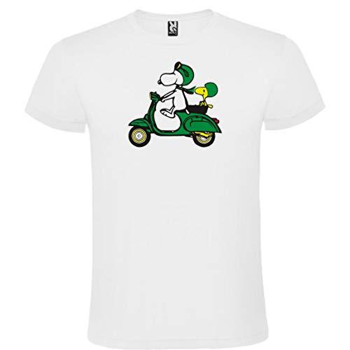 Camiseta Roly Blanca Snoopy Vespa Hombre 100% Algodón Tallas de Adulto y Niño Mangas Cortas (M)