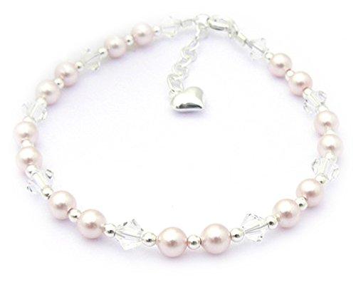 Bracelet pour Enfant -Argent Fin, Perles et Cristaux- Enfants Eid-Cadeau