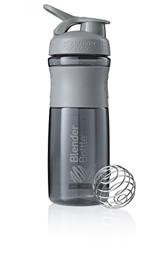 BlenderBottle Sportmixer Botella de agua | Botella mezcladora de batidos de proteínas | con batidor Blenderball | libre de BPA | Tritan| 820ml - pebble