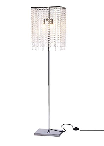 GDLMA Silver Crystal Raindrop Floor Lamp for Bedroom,Living Room,Girls Room or Wedding Gift
