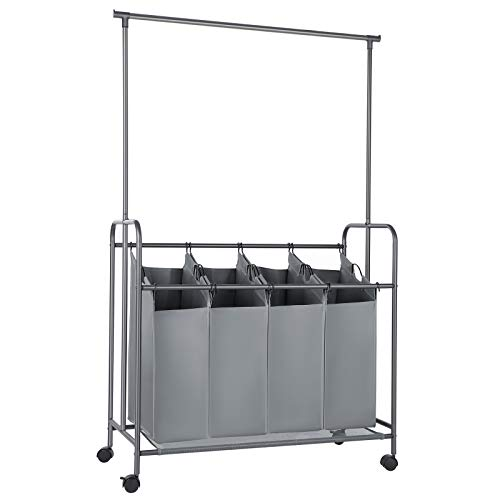 SONGMICS 4-Bag Laundry Sorter, Rolling Laundry Cart with Hanging Bar, Heavy-Duty Wheels, Gray URLS44GS