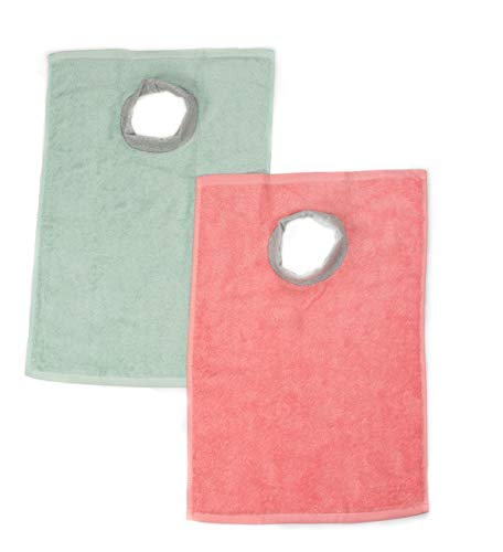 Full Coverage Ultra Absorbent Cotton Terry Towel Slip On Bib. Baby/Toddler Super Soft 99% Cotton with Comfortable Ribbed Neck, 2-Pack Mint Green & Peach Coral, 6 Months - 4 Years