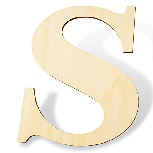 12 inch Wooden Letters S - Blank Wood Board, Wood Letters for Walls Decor, Party, DIY Craft Projects (12' - 1/4' Thick, S)
