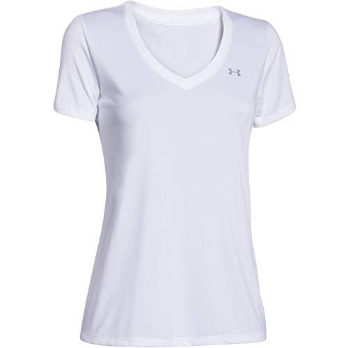 Under Armour Damen Tech Short Sleeve V - Solid, kurzärmliges Trainingsshirt, Weiß (White/Metallic Silver), XS