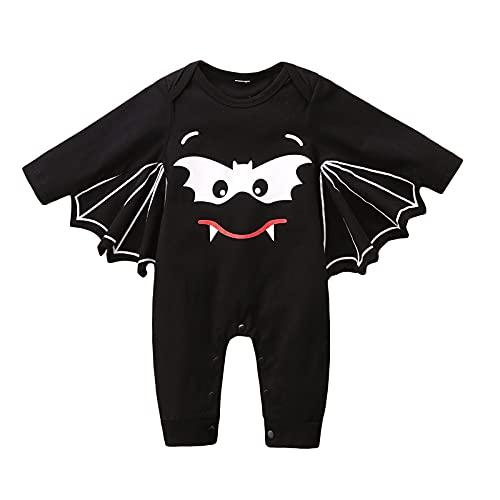 SOONHUA Mono para bebé, para recién nacido, para Halloween, disfraz de murciélago, traje de bebé, ropa de abrigo todo en uno, Negro, 6-12 Meses