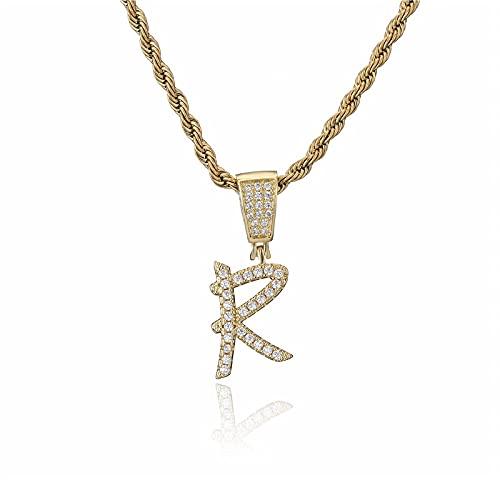 QWKLNRA Collar para Mujer Moda Oro Color Cuerda Cadena Exquisita Rhinestone Letras Mayúsculas R Collares Iniciales Collar Hip Hop Joyería Cumpleaños Regalo