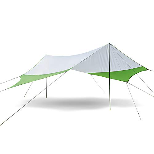 Naturehike Lightweight Camping Tarp Shelter Beach Tent Sun Shade Awning Canopy with Tarp Poles, Portable Waterproof Sun-Proof 204.7x181/157.5x137.8 for Hiking Fishing Picnic (Green&Grey-L)