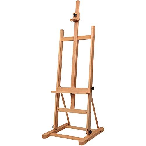 MEEDEN - Caballete de madera de haya para estudio de trabajo ligero - Caballete de pie inclinable ajustable para pintar en el suelo, sostiene lienzos de hasta 48 pulgadas