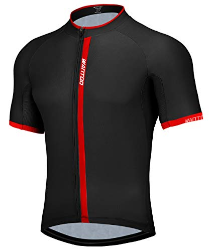 Wantdo Men Bike Shirt Breathable Quick Dry Cycling Jersey for Adult XL Black Red