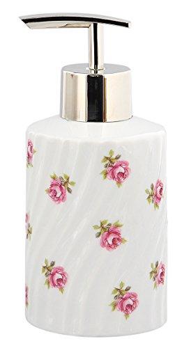 Kosmetex Seifenspender Rose vom Tegernsee, Porzellan weiß gedreht mit kleinen Rosen im Dekor, Lotion-Pumper, Seifenspender