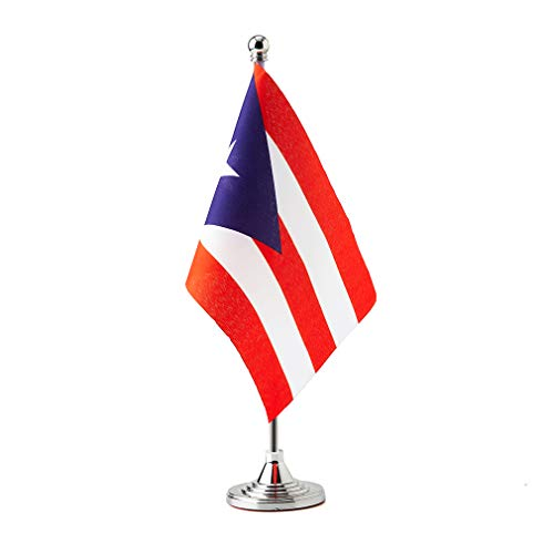 Puerto Rico Small Table Flags Decor Puerto Rican Mini Desk Flag on Stand Base Decoration (Puerto Rico Flag)