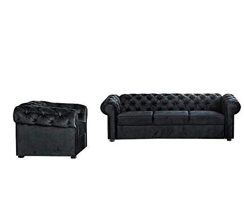 Wohnlandschaft 3+1 Chesterfield 3-Sitzer und Sessel, Samtbezug Polstersofa Sofas Couch für Wohnzimmer Loungesofa Federkern Vintage Design Avia (Schwarz)