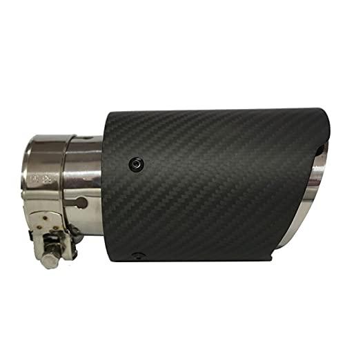 GCS Gcsheng 1 Piezas Tubo de Escape de Acero Inoxidable Mate Negro Modo de Escape Modificado Fibra Decorativa Fibra de Carbono Punta Recta A/K. Estilismo de Coche (Color : 63 Inlet 101 Outlet)